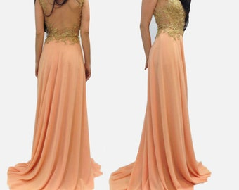 Evening Lace Dress/Chiffon Dress/ Prom Long Dress,/Handcrafted with Beads and Pearls/Romantic Dress/ F1001