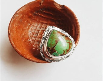Bright Green Turquoise and Sterling Silver Statement Ring, Teardrop Gemstone, USA Mined