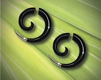 Fake Gauge Earrings, Small Silver Tipped Spiral, Sarahs Curls, Tribal Jewelry, BOHO, Eco Friendly, Organic Earrings, Black Horn Carving, H17