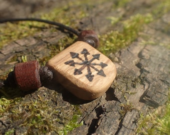 Hand crafted oak talisman of chaos.