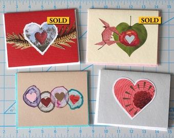 Hand-cut Collage Valentine Note Card