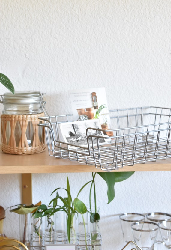 set of 2 mid century industrial office metal wire paper tray