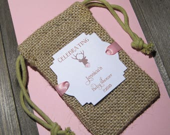 Burlap baby shower favor bags - Personalized - Rustic - Boho - Deer head silhouette - Flowers - Baby Girl - Baby Boy