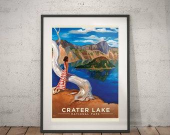 crater lake, crater lake national park, wall decor, vintage