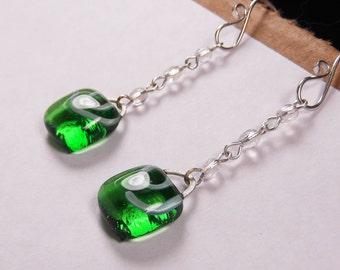 Adorable Emerald Green Glass Charm Earrings on Swarovski Crystal Drops