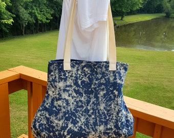 Bleached Denim Tie Dye Handbag Purse Casual Blue White