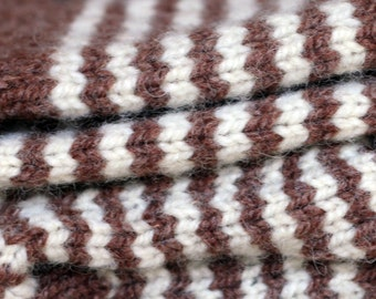 Knitted wool socks natural beige brown stripes