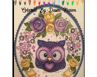 Owl Coloring Page , Instant Download PDF, Adult Coloring Book.