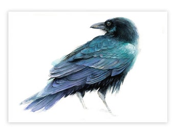 Raven watercolor Print on Wood  Crow Wall Decor Small Gift