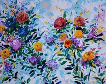 Originale Pittura a olio su tela The Blue Flowers,grandi dipinti floreali,regalo per donne moglie,Abstract Art,Modern Art, fiori freschi