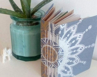 Handmade unique journal/junk journal/bullet journal hand drawn in free-hand, bohemian style hand bound OOAK