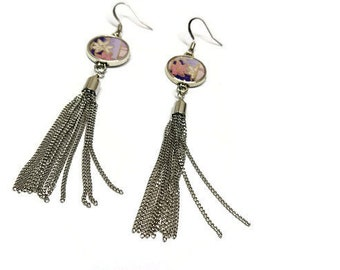 Japanese paper earrings, Tassel earrings, Metal tassel earrings, Resin earrings, Bezel earrings, Purple earrings, Maple leaf earrings