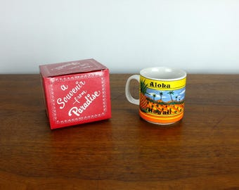 Vintage Hawaii Coffee Cup Souvenir Travel Vacation Gift Vintage Mug Retro Home Decor 80's Rainbow 1985 UNUSED WITH BOX