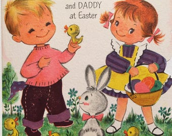 Vintage Easter Card Mommy and Daddy vintage Glitter Card Easter Chicks 1950s