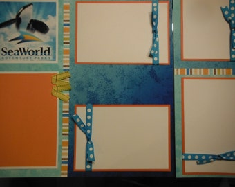 Sea World Orlando  Premade 12x12 Scrapbook Pages for Family Vacation