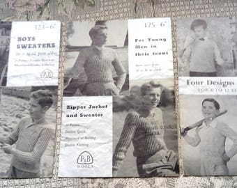 Three Vintage Knitting Patterns for Boys, 1950s