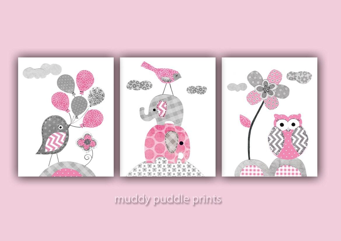 Pink And Grey Nursery Decor Nursery Art Nursery Prints - Pink and grey nursery decor