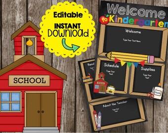 50% OFF SALE Kindergarten Welcome Newsletter - Brochure - Editable - Instant Download - Teacher - Classroom - Printable - Chalkboard