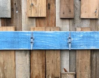 Boat Cleat Coat Rack, Nautical Towel Rack, Book Bag Rack, Hat Rack, Key Rack, Distressed Blue