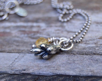 Burros Tail . Sterling Charm Necklace . Amber . Fine Silver . Handmade . Earthy . Nature