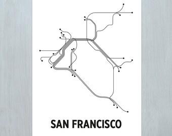 San Fransico Lithograph - White/Black