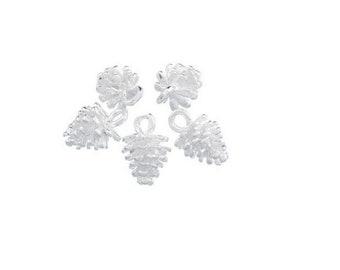 SET of 3 charm pendant charm silver fir tree Pine Cone