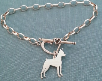 Miniature Pinscher Dog Chain Bracelet, Sterling Silver Personalize Pendant, Breed Silhouette Charm, Rescue Shelter, Memorial Gift