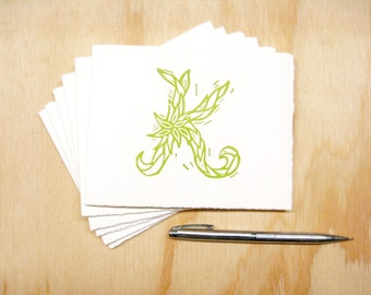 Letter K Stationery - Personalized Gift - Set of 6 Block Printed Cards
