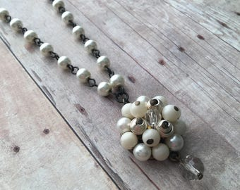White Pearl Upcycled Vintage Earring Necklace, Vintage Jewelry, Recycled Jewelry, Bridal Jewelry, Wedding Necklace, Pearl Necklace