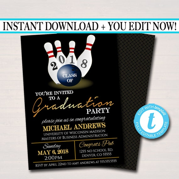 Editable bowling graduation invitation chalkboard printable stopboris Image collections