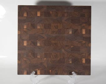 Black Walnut Wooden End Grain Cutting Board, #CB22
