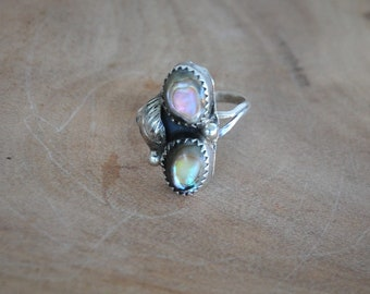 Native American Sterling Silver Abalone Ring Size 4 1/4, Sterling Southwestern Ring, Sterling Double Abalone Ring