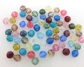 SWAROVSKI® Crystal Article #5000 8mm Round Beads, Assorted Colors, FORTY(40) Thirty(30) Cents Per Bead!