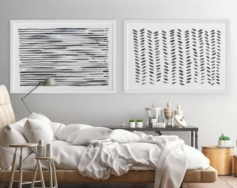 Large Wall Art, Modern Wall Art, Horizontal Wall Art, Abstract Art, Set of 2, Art, Oversized Painting, Fine Art, Gray Abstract Painting
