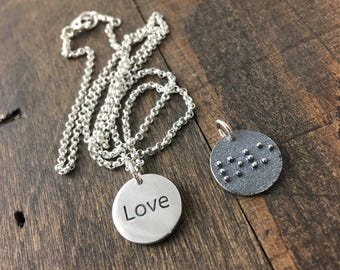 Braille Necklace, Love Charm Necklace with Braille On the Back, Sterling Silver Braille Necklace, Charm Necklace