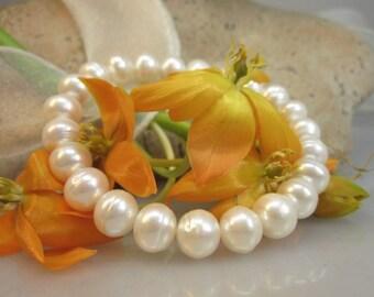 Bracelet made of genuine freshwater zuchtperlen 8-9 mm Schmuckmueller