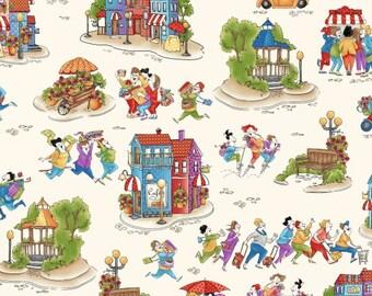 Shop Hop by Bonnie Krebs Fabric /  Shop Hop Fabric 8663 Henry Glass / By The Yard / 1/2 Yard Cuts / Yardage and Fat Quarters