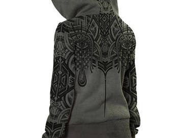 Pixie Jacket,Hippie Hoodie,Psy Trance Clothing ,Festival Clothing,Bohemian Hoodie,Fairy Clothing,Doof Jacket Tribal Jacket Burning Man.Gift