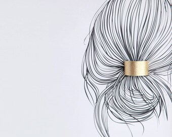 Gold leather ponytail cuff double sided in black hair cuff | Gold leather topknot holder | Leather hair accessories