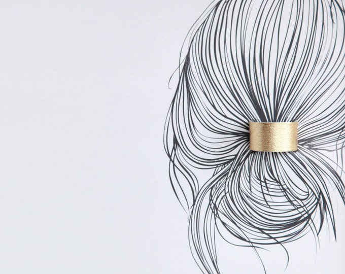 Featured listing image: Gold leather ponytail cuff double sided in black hair cuff | Gold leather topknot holder | Leather hair accessories