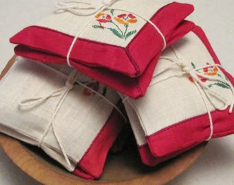 "Lavendar Sachets, Red and White set of two 5"" bowl fillers"