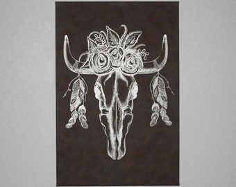 BOHO Cow Skull Leather Wall Decor