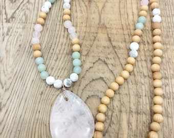 108 Bead Mala with Rose Quartz Pendant