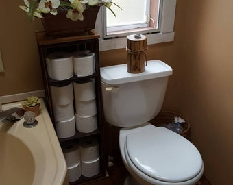 Toilet paper holder, crate storage, Toilet paper tower, Toilet paper holder with Shelving