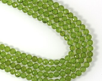 """GREEN PERIDOT Round Faceted Beads 7"""" Strand 45 Beads, 4 mm 33 cts,  Micro Faceted Briolette Ball, August Birthstone, Genuine Gemstone"""