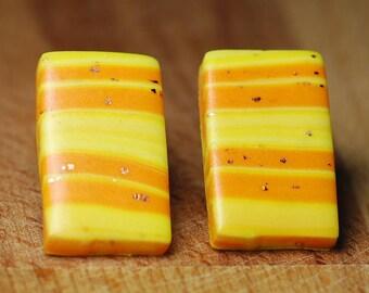 Hypoallergenic Earrings - Polymer Clay Earrings - Large Stud Earrings - Yellow And Orange - Plastic Backed Earrings For Sensitive Ears -