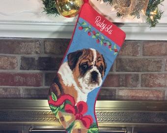 Bulldog Needlepoint Christmas Stocking, Christmas stocking, Dog stocking, Personalized Christmas stockings, Dog Christmas stocking