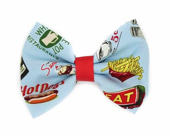 Retro 1950s Diner Fabric Hair Bow Clip