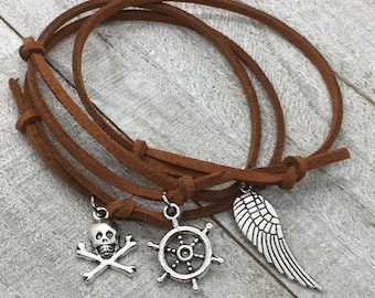 Faux leather bracelet, suede charm bracelet, skull bracelet, ship wheel bracelet, angel wing bracelet, dainty charm bracelet, TheOSB