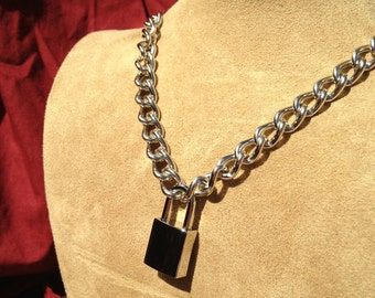 Chain Choker with Small Square Padlock